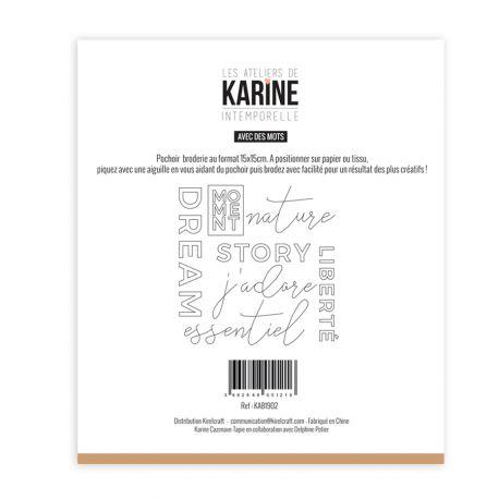 Pochoir Broderie Intemporelle Avec des mots -Les Ateliers de Karine
