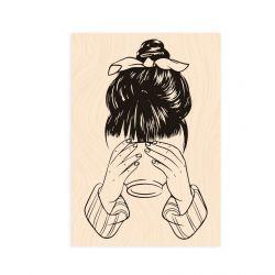 Wooden Stamp Bienvenue chez moi Jeune fille au bol -Les Ateliers de Karine