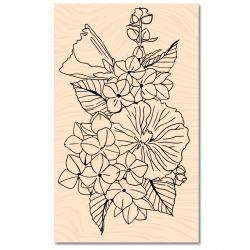 Tampon bois A contre courant Fleurs d'été -Les Ateliers de Karine