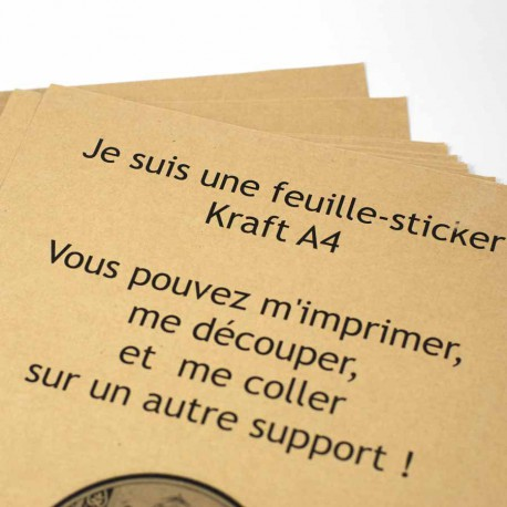 Lot de 10 feuille sticker kraft A4
