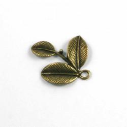 Breloque 3 feuilles bronze