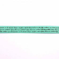 Ruban satin écriture vert pistache