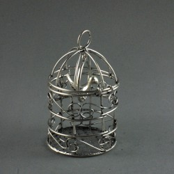 Cage avec oiseau argent