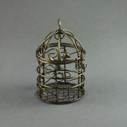 Cage avec oiseau bronze