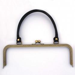 Fermoir sac bronze décoré anses noires