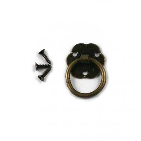 Lot de 3 poignées métal bronze (avec vis)