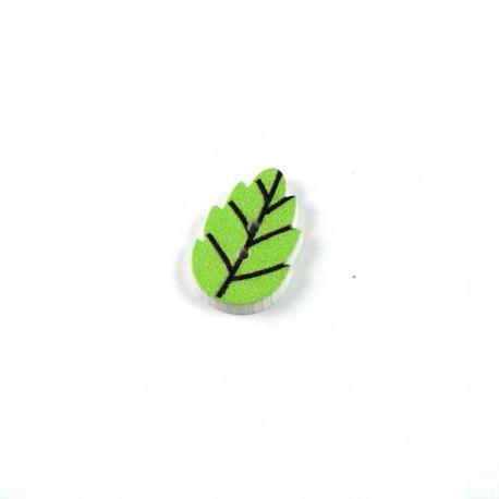 Bouton bois feuille vert