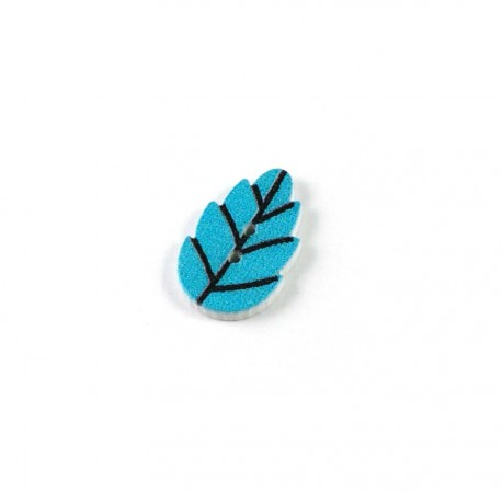 Bouton bois feuille bleu