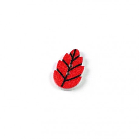 Bouton bois feuille rouge