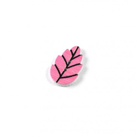 Bouton bois feuille rose
