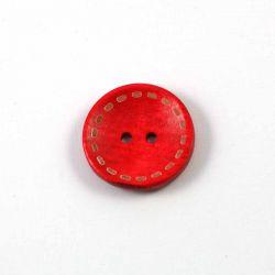 Bouton en bois fausses coutures rouge