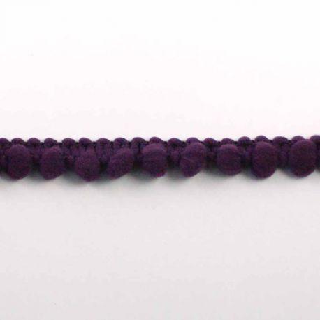 Ruban galon pompons violet à l'unité