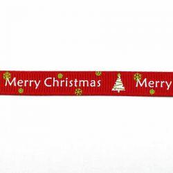 """Ruban Noël """"merry Christmas"""" rouge"""