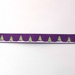 """Ruban """" c'est l'hiver""""  violet"""