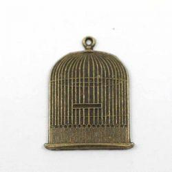 Breloque grande cage bronze