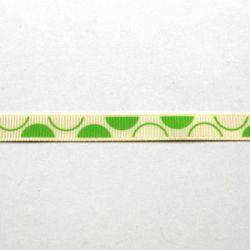 Ruban blanc à gros demi-pois verts