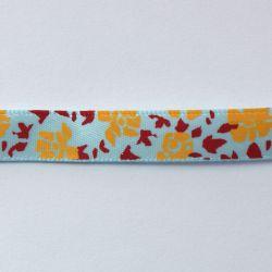 Ruban à fleurs bleu clair/jaunes, rouge