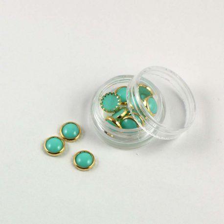 Pastilles rondes vert d'eau et or