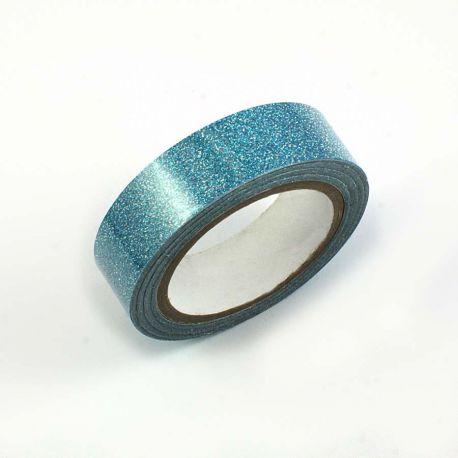 Masking tape pailleté turquoise