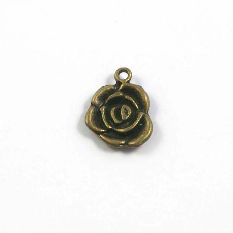 Breloque rose bronze