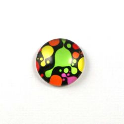 Cabochon rond PM roses bleues