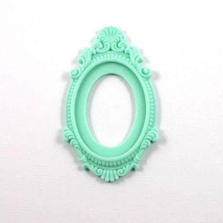 Grand cadre baroque vert opaline mat