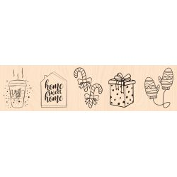 Mes Indispensables de l'hiver Woodblock stamp