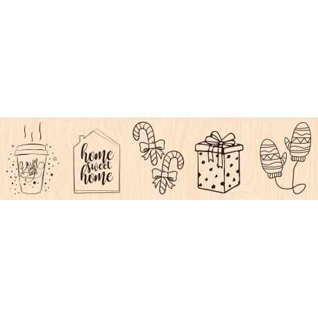 Mes Indispensables de l'hiver Woodblock stamp