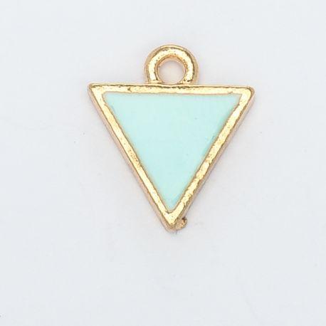 Breloque triangle or et vert celadon