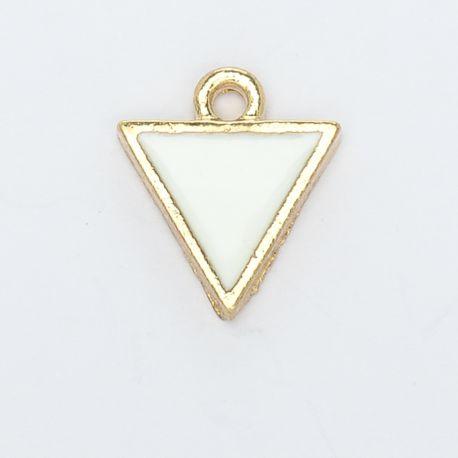 Breloque triangle or et blanc