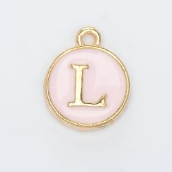 Breloque typo lettre L- rose