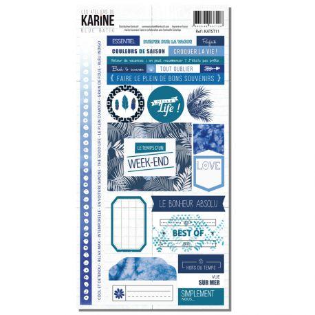 Blue Batik -Stickers 15X30