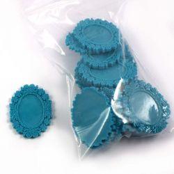 Cadre ovale turquoise (lot de 20)