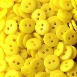 Boutons jaune soleil résine 1cm (lot de 100)