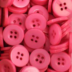 Boutons rose vif résine 1,6cm (lot de 100)