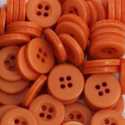 Boutons orange résine 1,6cm (lot de 100)