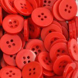 Boutons rouge clair résine 1,6cm (lot de 100)