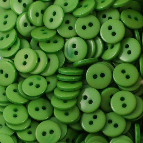 Boutons vert résine 1cm (lot de 100)