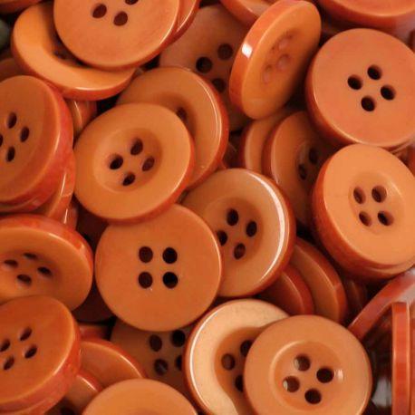 Boutons marron orangé résine 1,6cm (lot de 100)