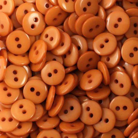 Boutons marron orangé résine 1cm (lot de 100)