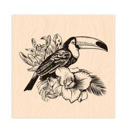 Tampon bois Long Courrier Toucan-Les Ateliers de Karine