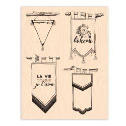Wooden Stamp Esprit Bohème Fanions-Les Ateliers de Karine