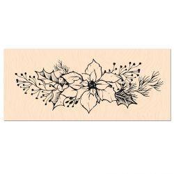 Tampon bois Woodland Fleur de Poinsettia-Les Ateliers de Karine