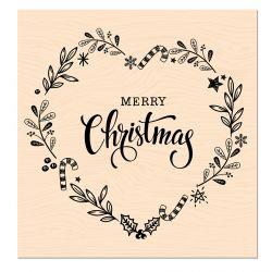 Tampon bois Woodland Merry Christmas-Les Ateliers de Karine