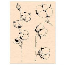 Wooden Stamp Woodland Fleurs de coton-Les Ateliers de Karine