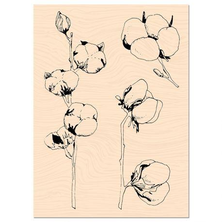 Tampon bois Woodland Fleurs de coton-Les Ateliers de Karine