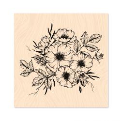 Wooden Stamp Hey Baby Cosmos fleurs -Les Ateliers de Karine