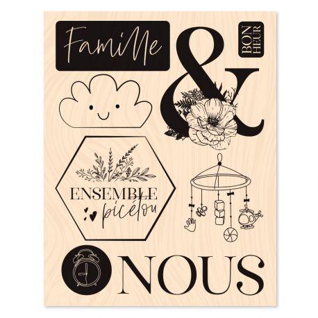 Tampon bois Hey Baby Ensemble-Les Ateliers de Karine