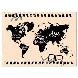 Wooden Stamp Carnet de Route Mappemonde -Les Ateliers de Karine