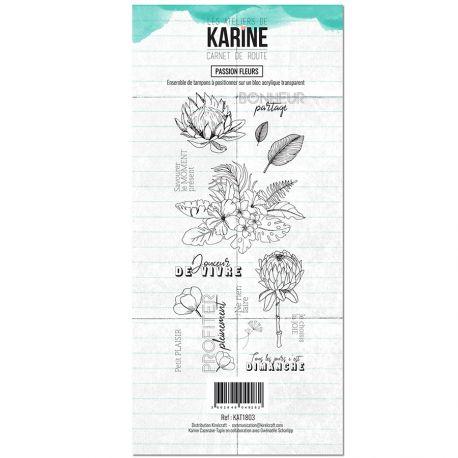 Tampon clear Carnet de route Passion fleurs - Les Ateliers de Karine